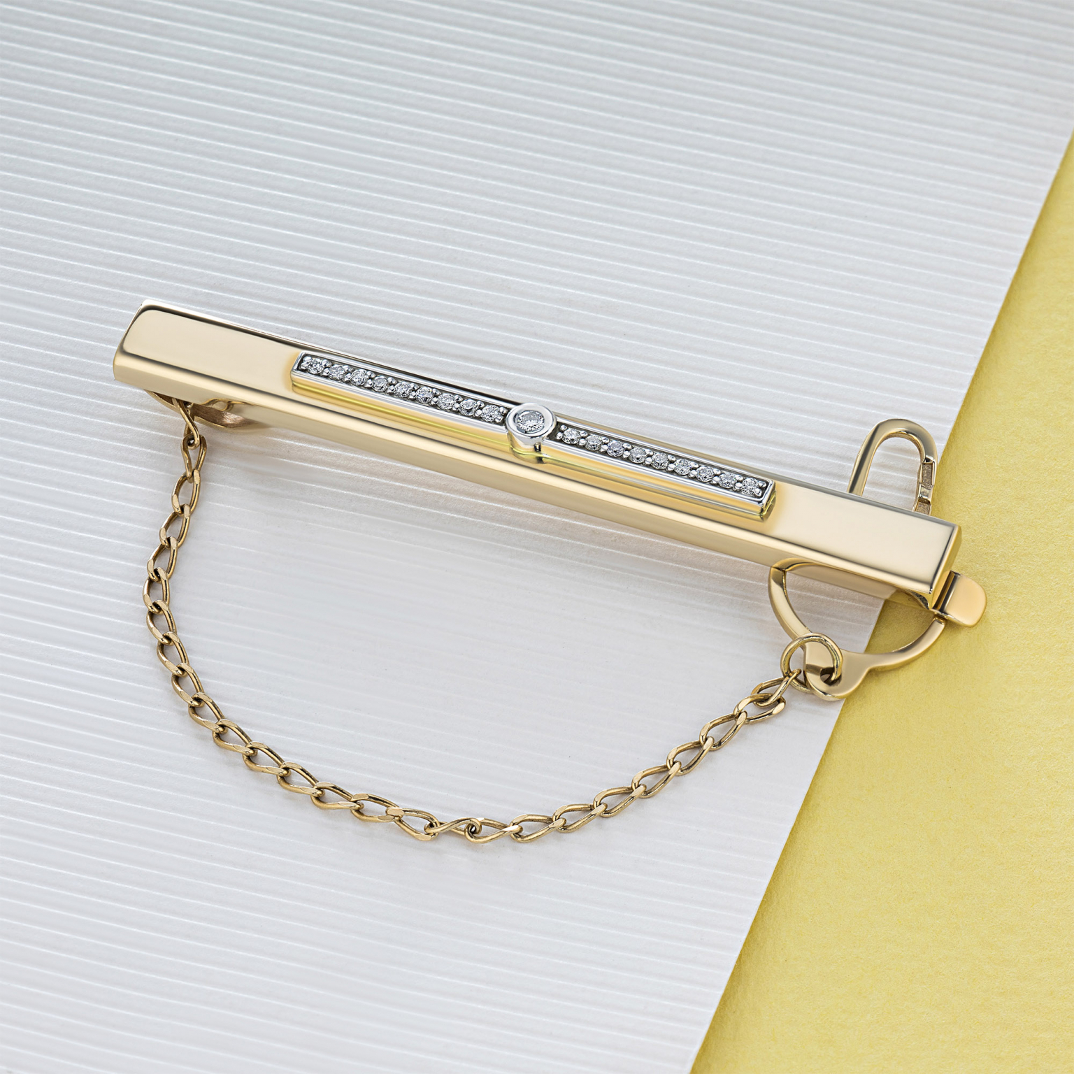Зажим из комбинированного золота с бриллиантами э1001зж04202260