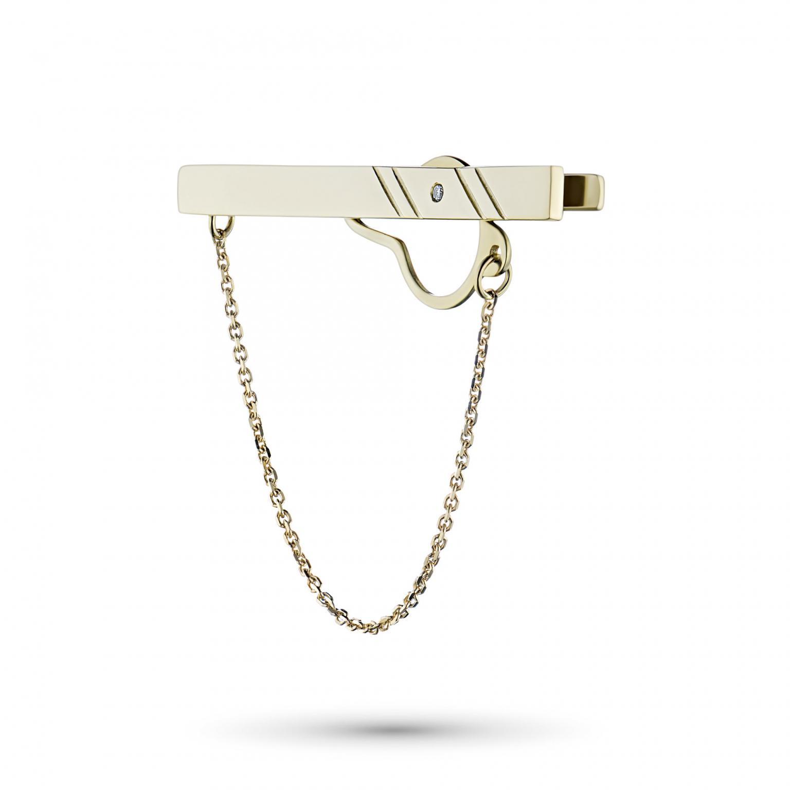 Зажим из желтого золота с бриллиантом э0301зж04201037