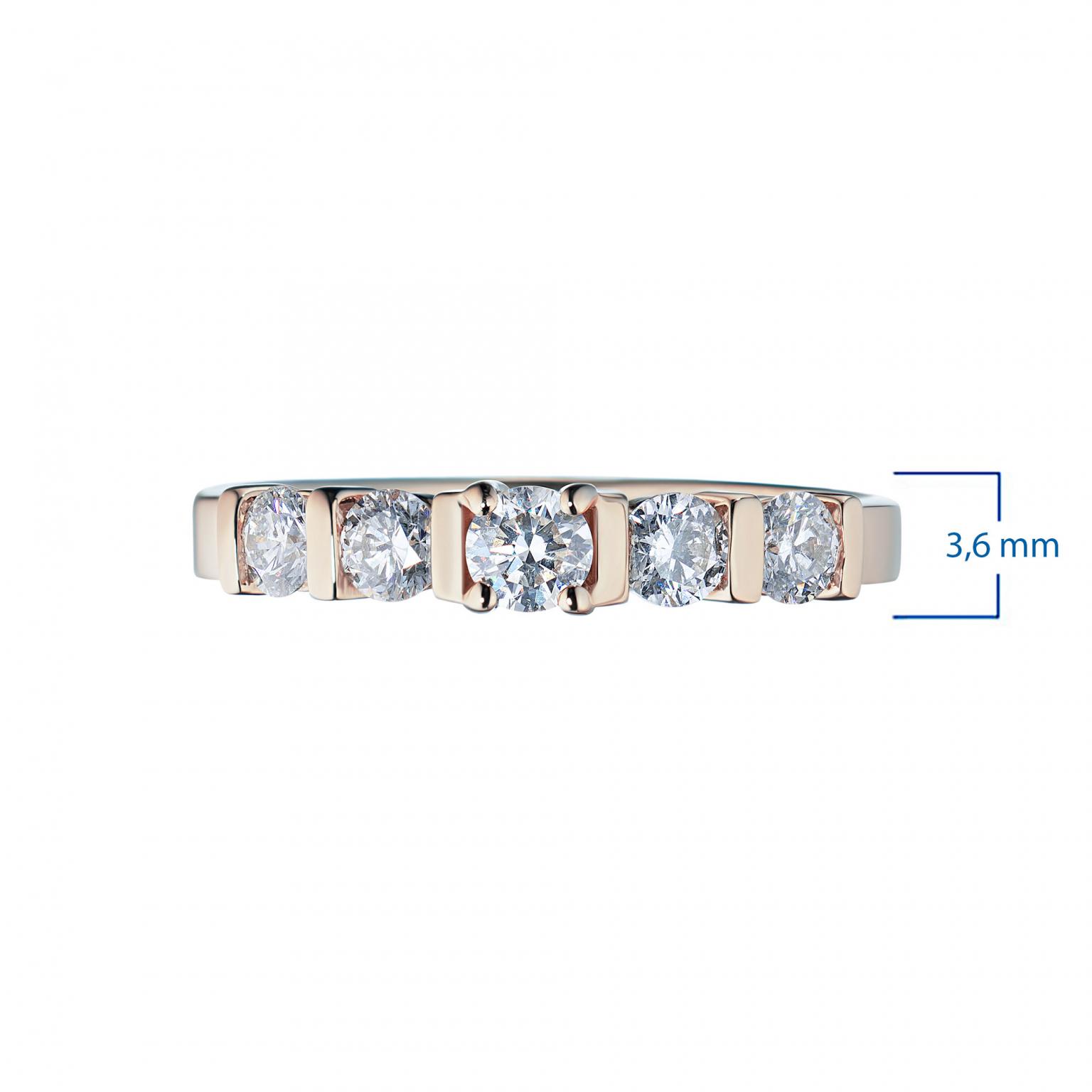 Кольцо из красного золота с бриллиантами э02к051509