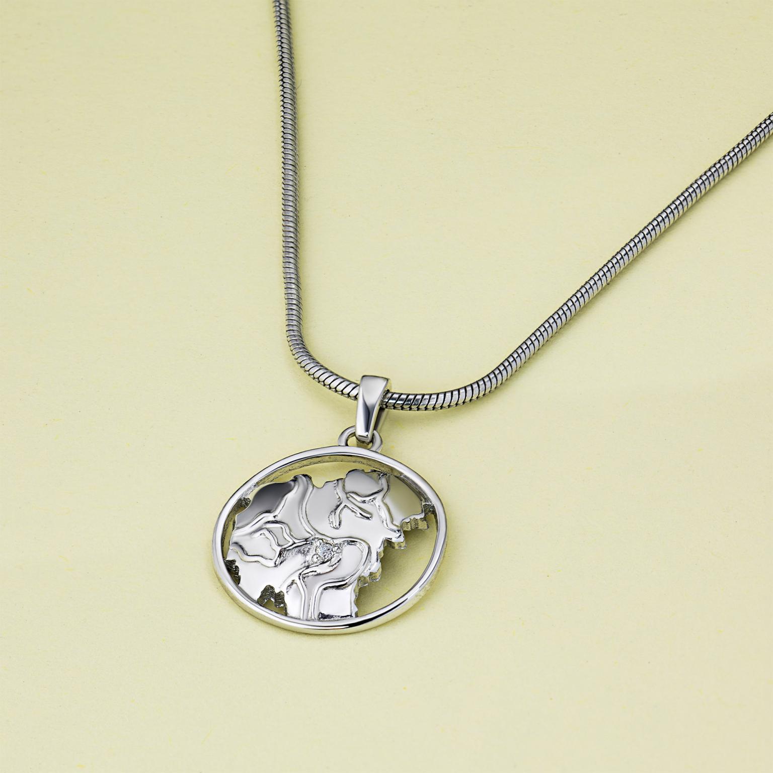 Подвеска из серебра с бриллиантом тд06п121808