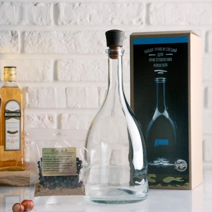 Набор для приготовления джина, бутылка 1 л., набор приправ