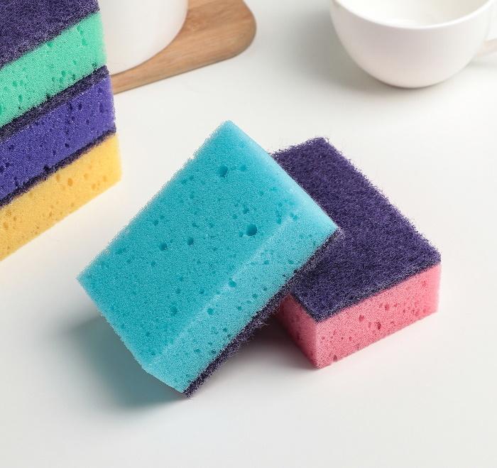 Набор губок для мытья посуды 9,6*6,4*3,7 см, 5 шт