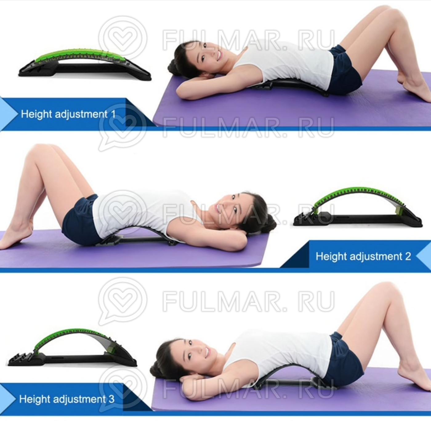 Широкий тренажер-мостик для позвоночника с подкладкой 94 шипа Здоровая спина