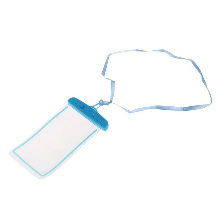 Водонепроницаемый чехол для смартфонов  15*8 см, с отражателем, два фиксатора Голубой