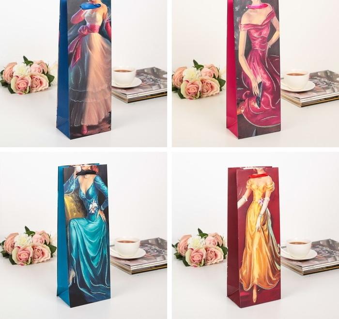 Пакет подарочный под бутылку женский с блёстками Лолита 13 х 8 х 36 см