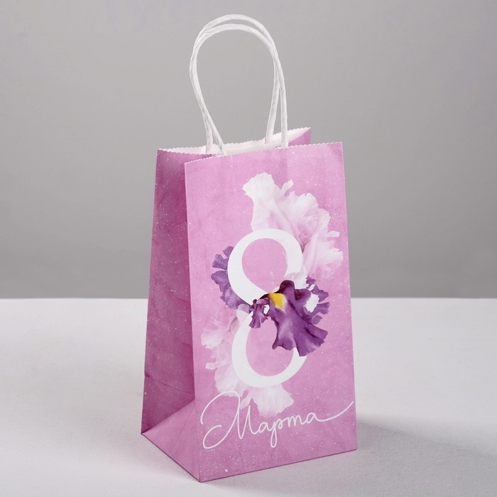 Пакет подарочный крафт 8 Марта, 12  21  9 см