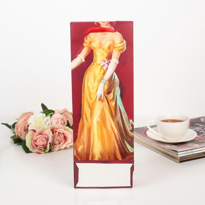 Пакет подарочный под бутылку женский с блёстками Анжелика 13 х 8 х 36 см