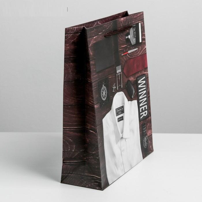 Пакет подарочный мужской  23  27  8 см Городской стиляга