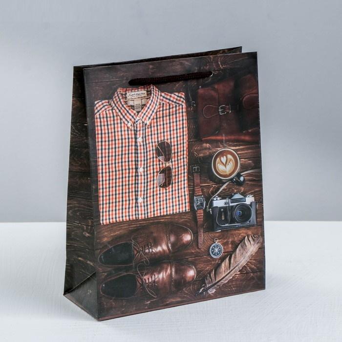 Пакет подарочный ламинированный Мужской Стиль цвет: коричневый