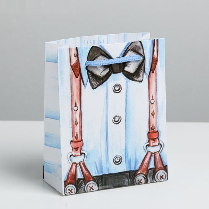 Пакет подарочный ламинированный Джентельмен цвет: белый-голубой 18х23х8 см