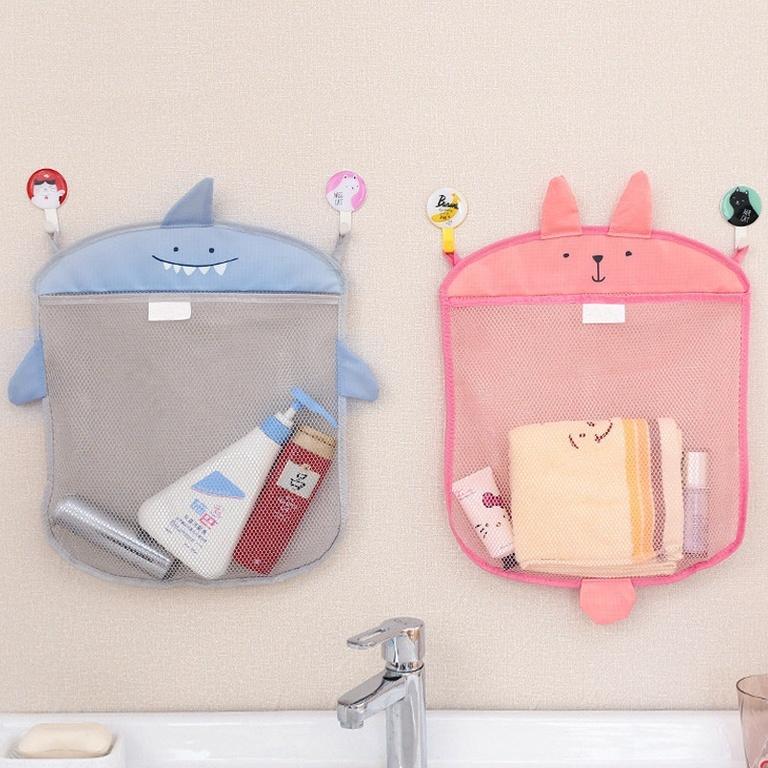 Сетка для хранения игрушек в ванной комнате настенная косметичка на присосках Розовый кролик