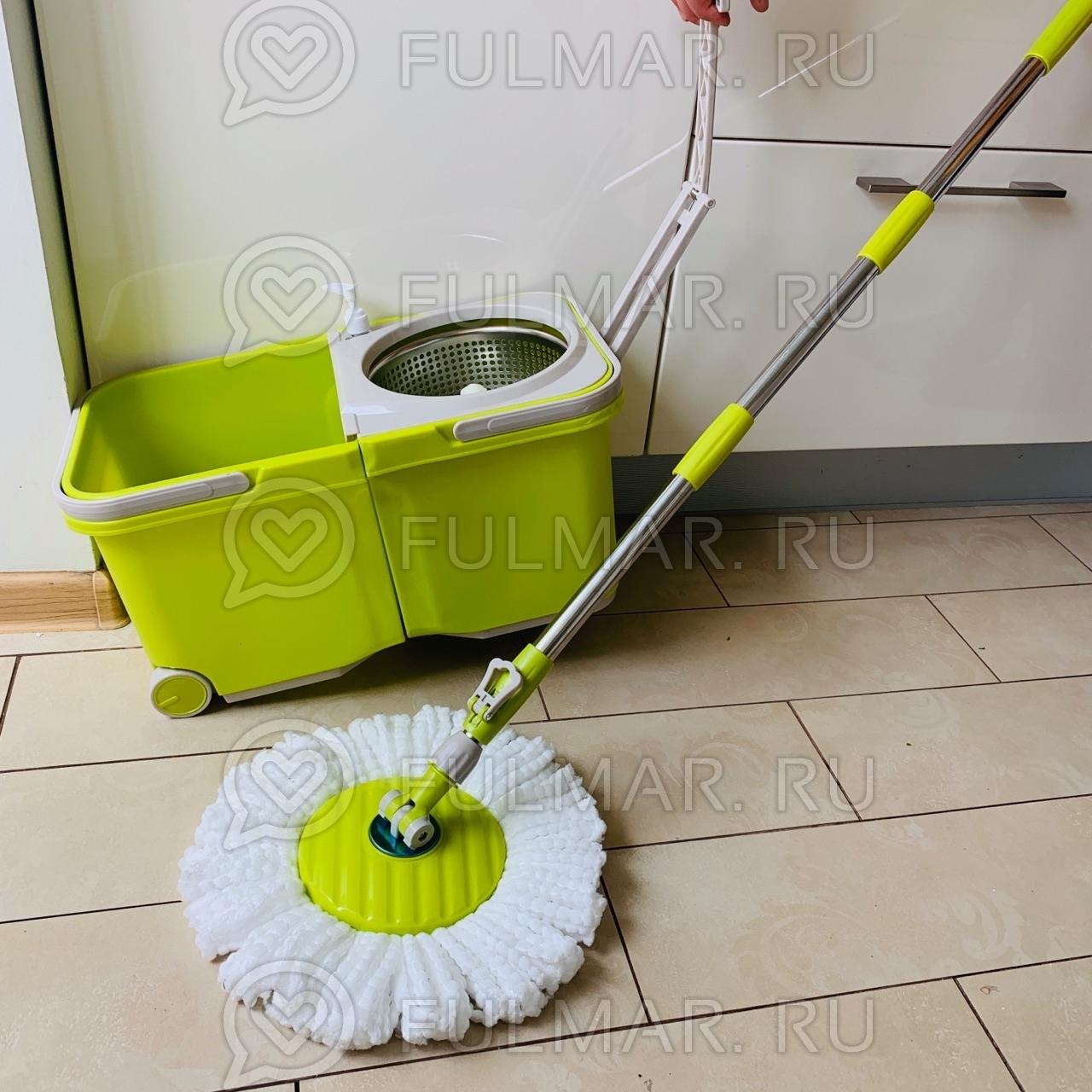 Складное ведро с отжимом на колёсах Spin Mop Stackable Wheels (комплект для мытья пола на колёсах)