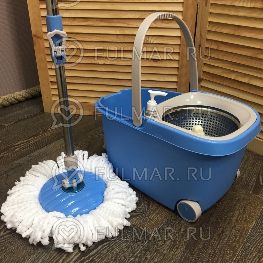 Швабра и ведро с отжимом на 2 колесиках с ручкой Spin Mop Wheels Mini Голубой