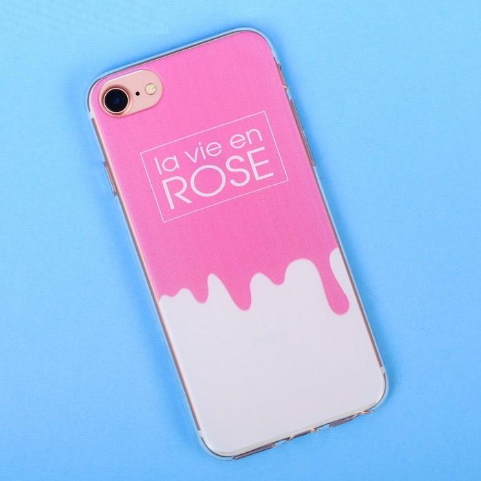 Чехол для телефона iPhone 6, 6S, 7 с рельефным нанесением la vie en rose