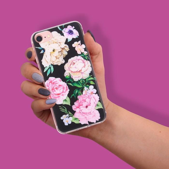 Чехол для телефона iPhone 6, 6S, 7 с рельефным нанесением «Пионы»
