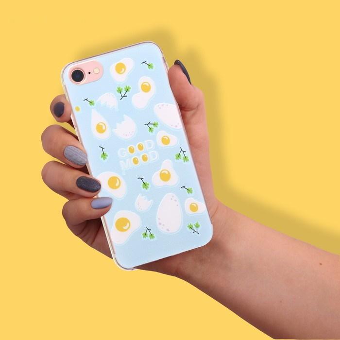Чехол для телефона iPhone 7 с рельефным нанесением Good mood, 6.5  14 см