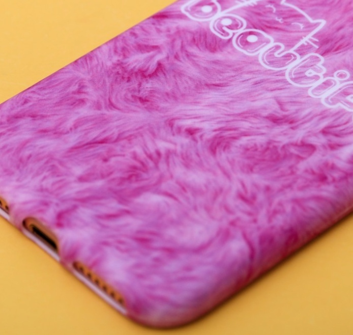 """Силиконовый Чехол для телефона iPhone 7 soft touch Розовый надпись Beautiful рисунок """"мех"""""""