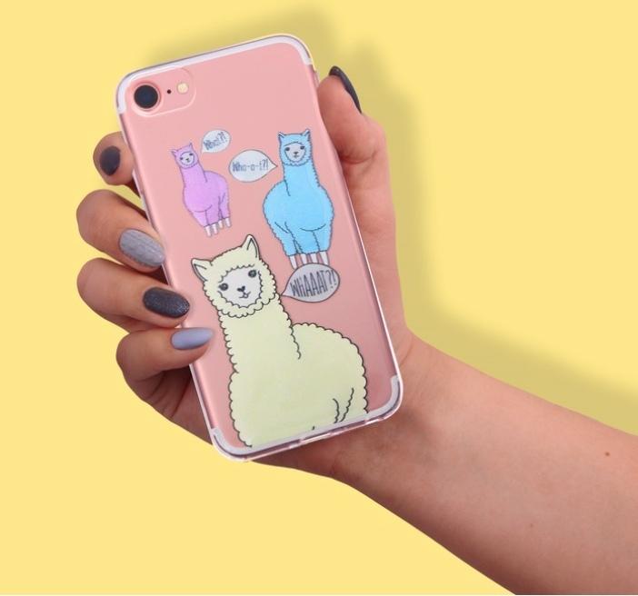 Чехол для телефона iPhone 6, 6S, 7 с блёстками Ламы