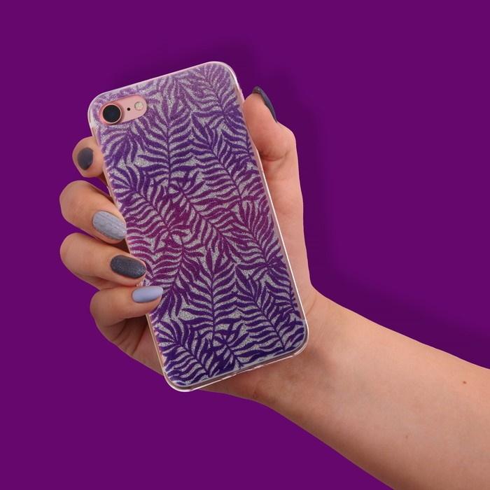 Чехол-накладка для телефона iPhone  7 «Папоротник», цвет: фиолетовый