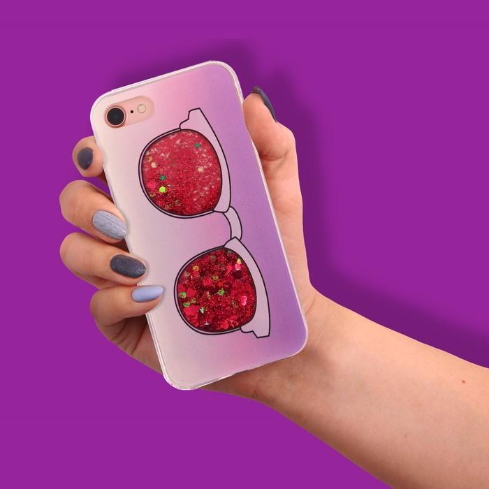 Чехол для телефона iPhone 7 с блёстками внутри «Круто»