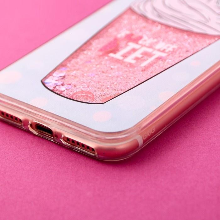 Чехол для телефона iPhone 7 с блёстками внутри «Смузи»