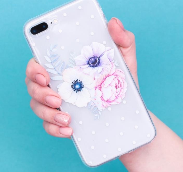 Силиконовый Чехол для телефона iPhone 7 Plus/8 Plus Sloth прозрачный в горох Букетик цветов