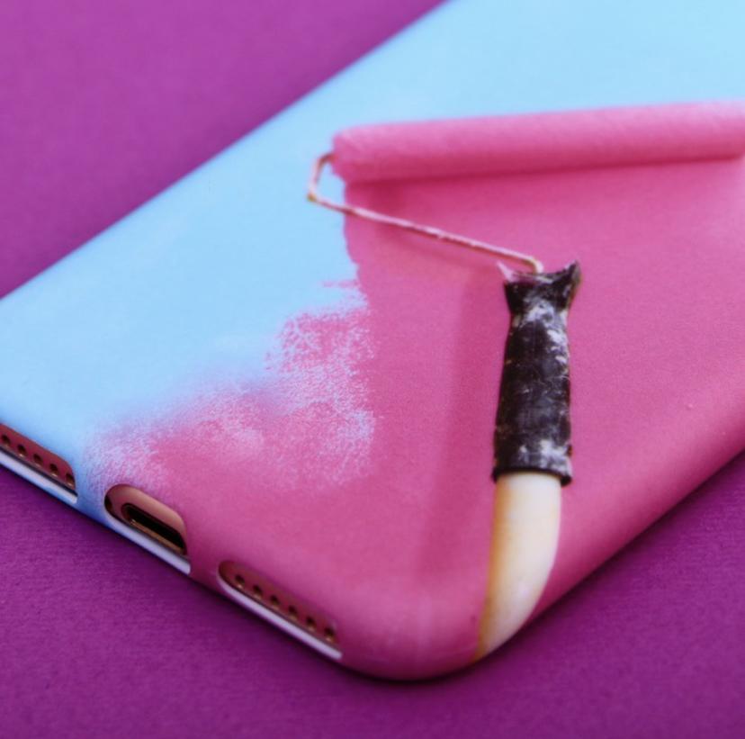 Силиконовый Чехол для телефона iPhone 7 «Раскрась», soft touch цвет: голубой-розовый