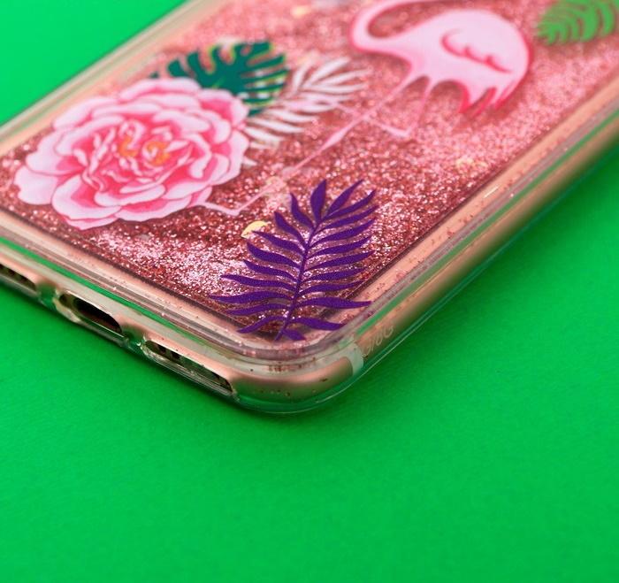 Силиконовый Чехол для телефона iPhone 7 с блёстками внутри «Фламинго»