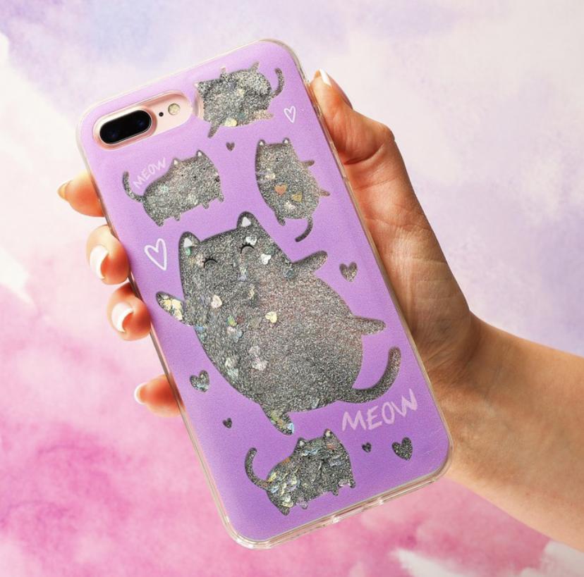 Чехол - шейкер для телефона iPhone 7-8 Plus Котики с жидкими блёстками