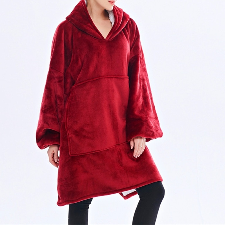 Двусторонняя Толстовка-Плед домашняя худи с капюшоном цвет: Красный
