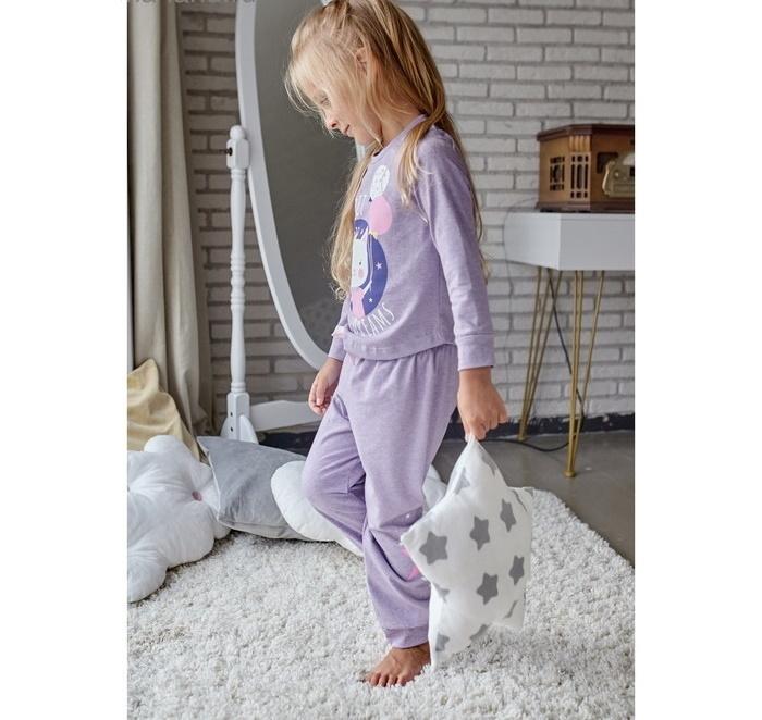"""Пижама для девочки (брюки и джемпер) """"Котик"""", лила"""