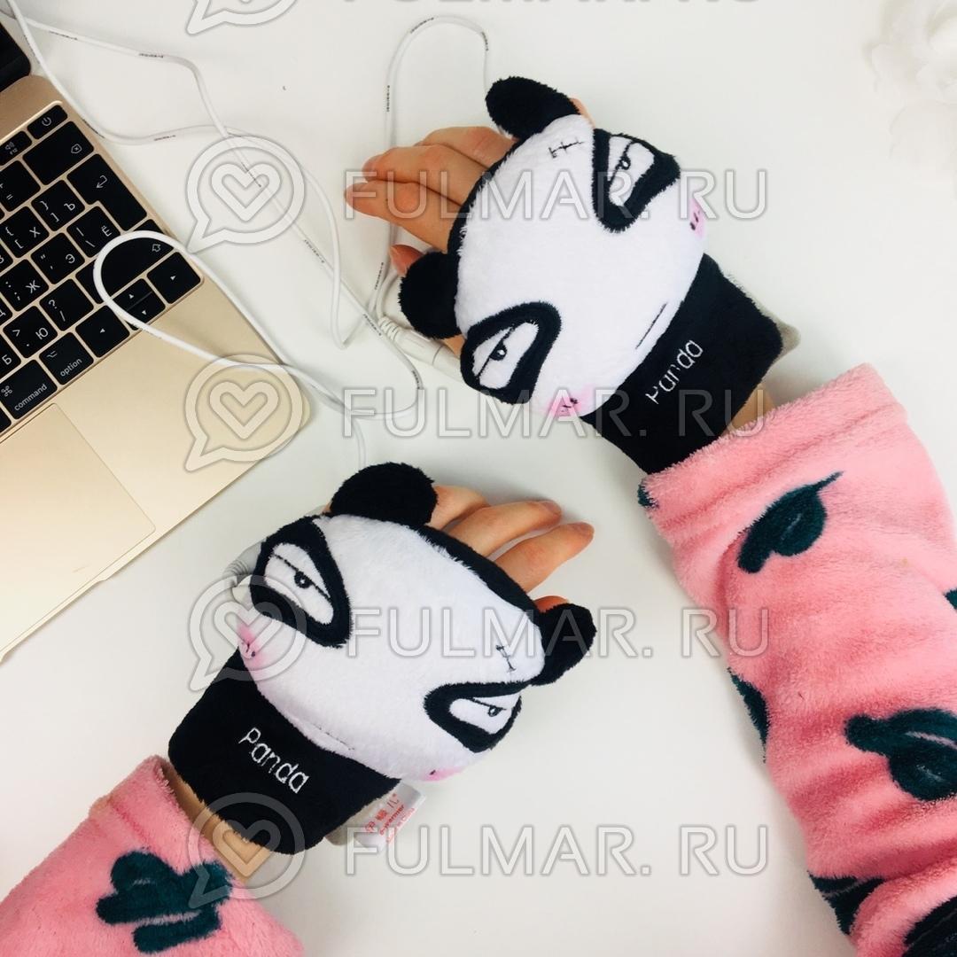 Грелки для рук USB перчатки с подогревом Панда