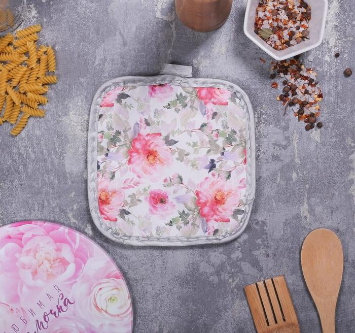 Многофункциональная кухонная доска и прихватка Любимая Мамочка, 20 см
