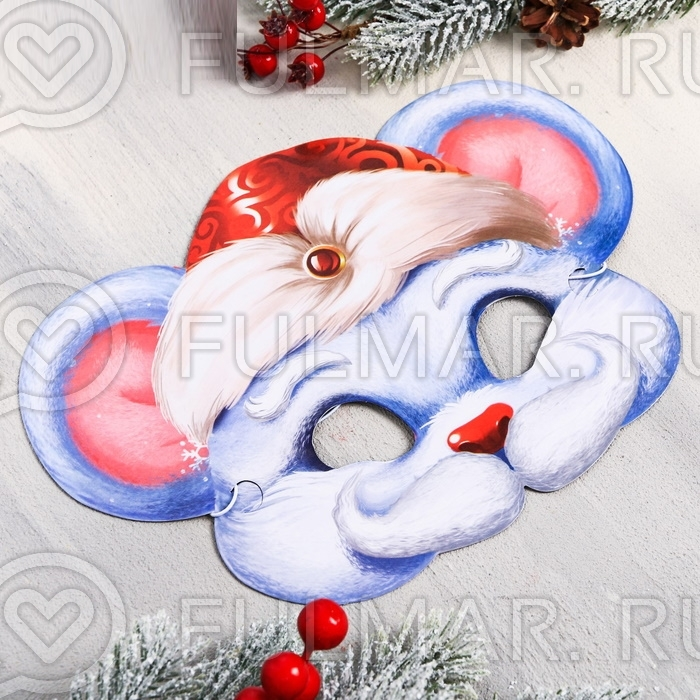 Маска для мальчика Крыс Дед Мороз новогодняя на резинке