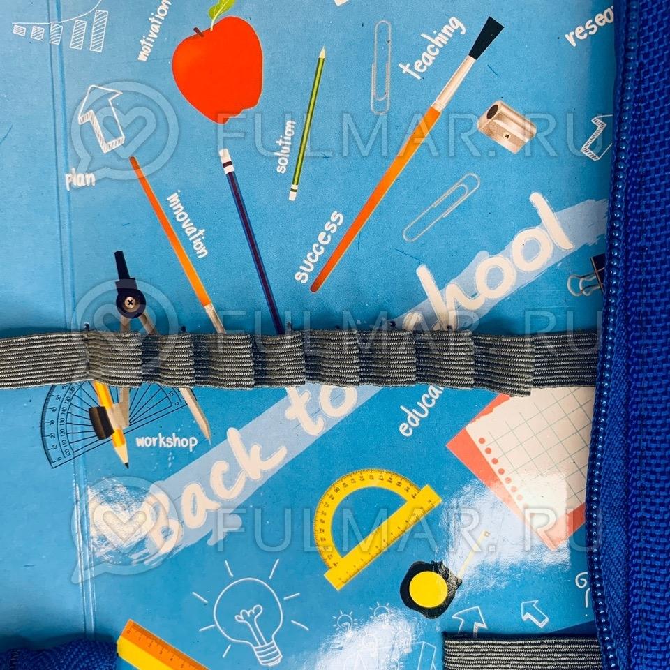 Пенал с пайетками односекционный на молнии для девочек меняет цвет Синий-Серебристый
