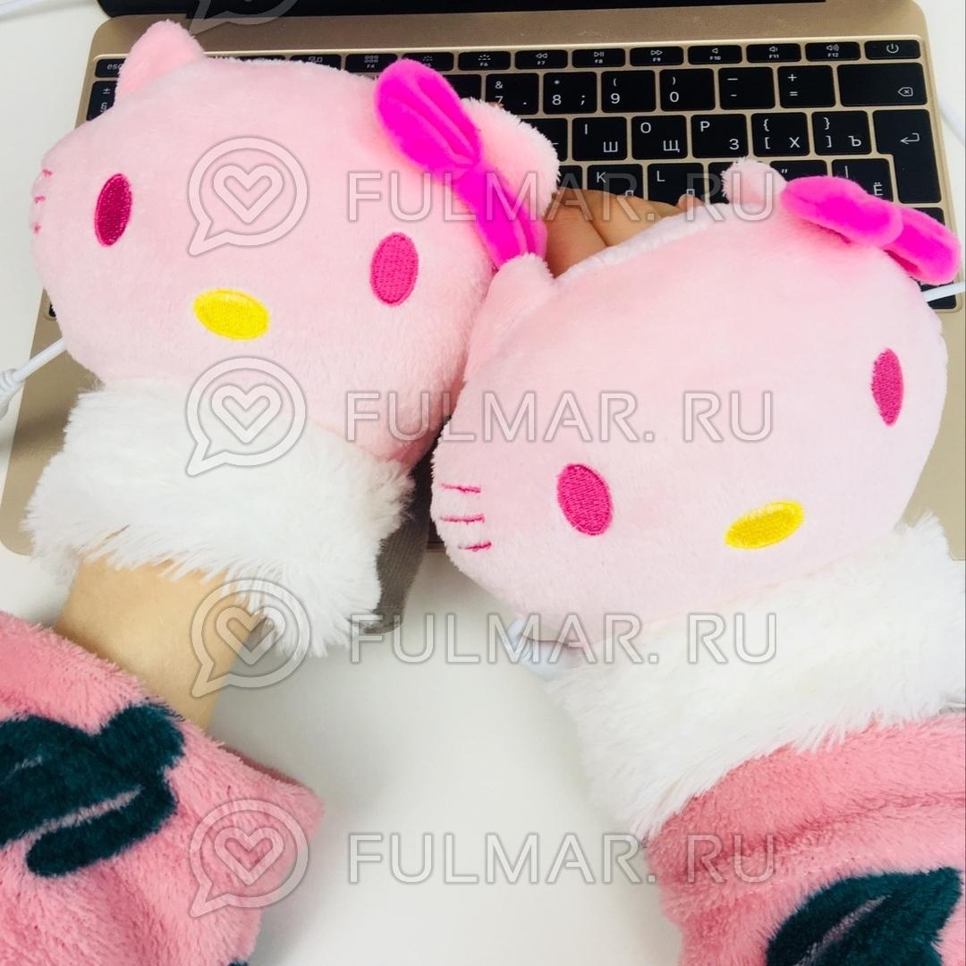 Грелки для рук USB перчатки с подогревом Кошка