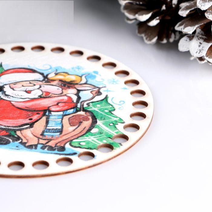 Заготовка для вязания Круг с рисунком Дед Мороз и Бык, размер 15 см