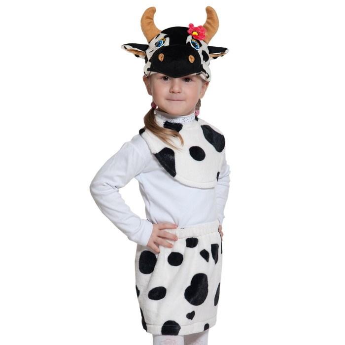 Карнавальный костюм «Коровка», плюш-лайт, манишка, юбка, маска, рост 92-116 см