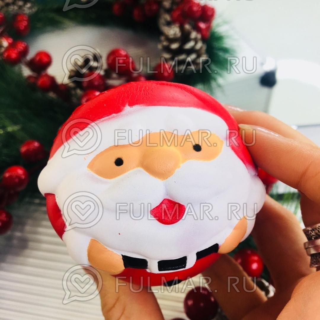 Дед Мороз круглый новогодняя сквиши игрушка антистресс (диаметр 8 см)