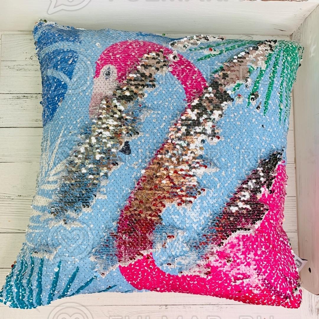 Подушка декоративная с пайетками Розовый Фламинго меняет цвет на серебристый 40х40 см