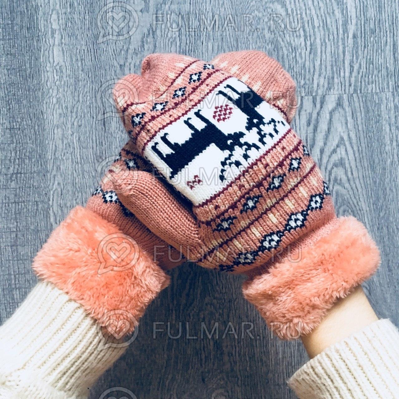 Варежки с оленями шерстяные (Цвет: оранжевый)