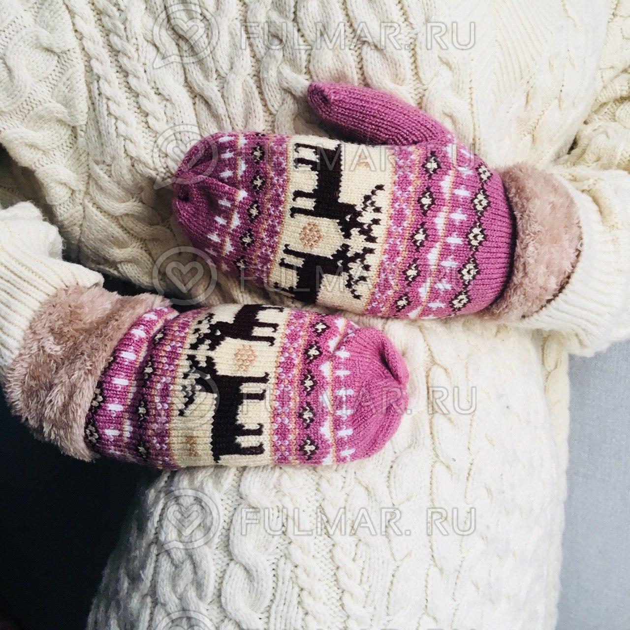 Варежки с оленями шерстяные (Цвет: розовый)