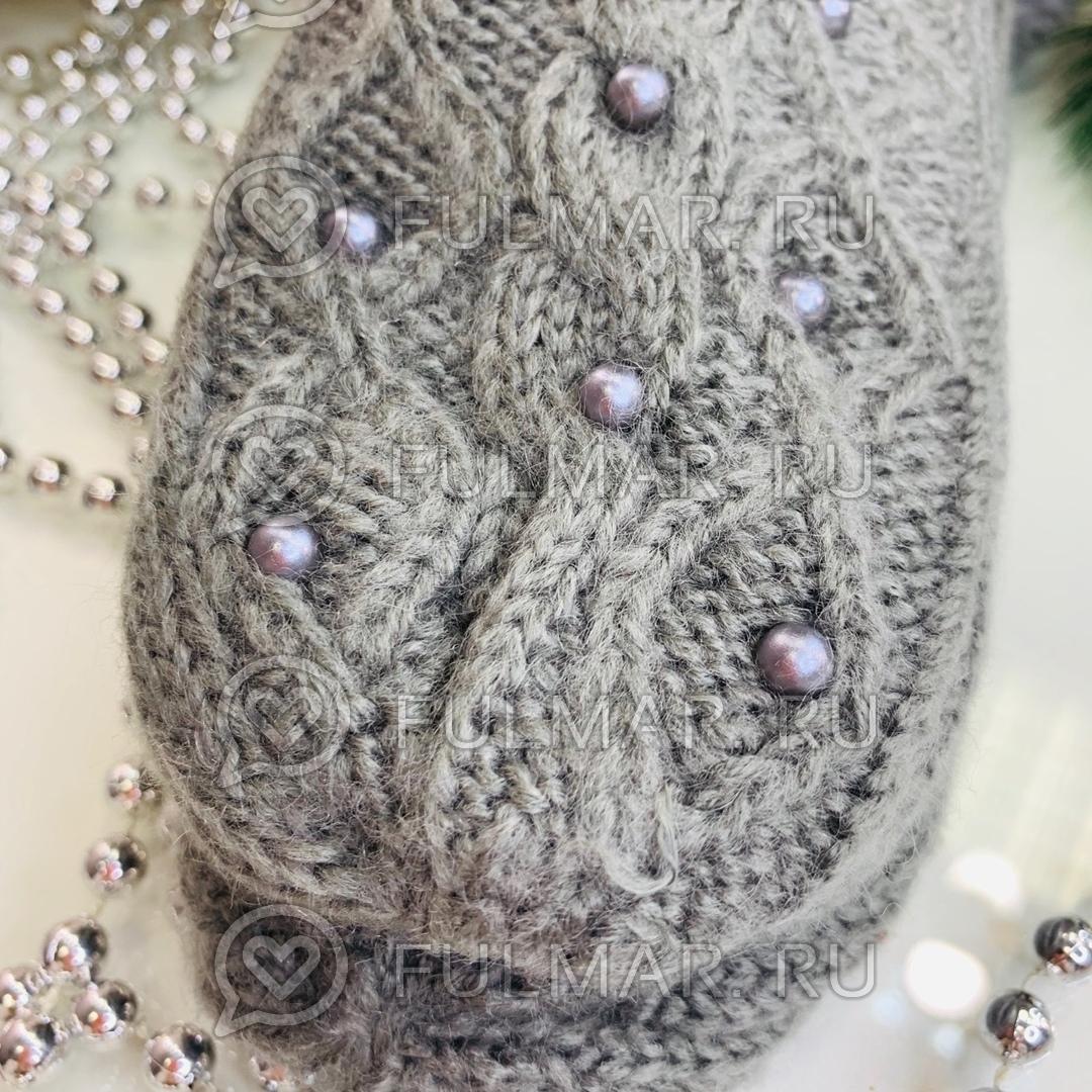 Варежки шерстяные вязаные Бусинки (цвет: серый)