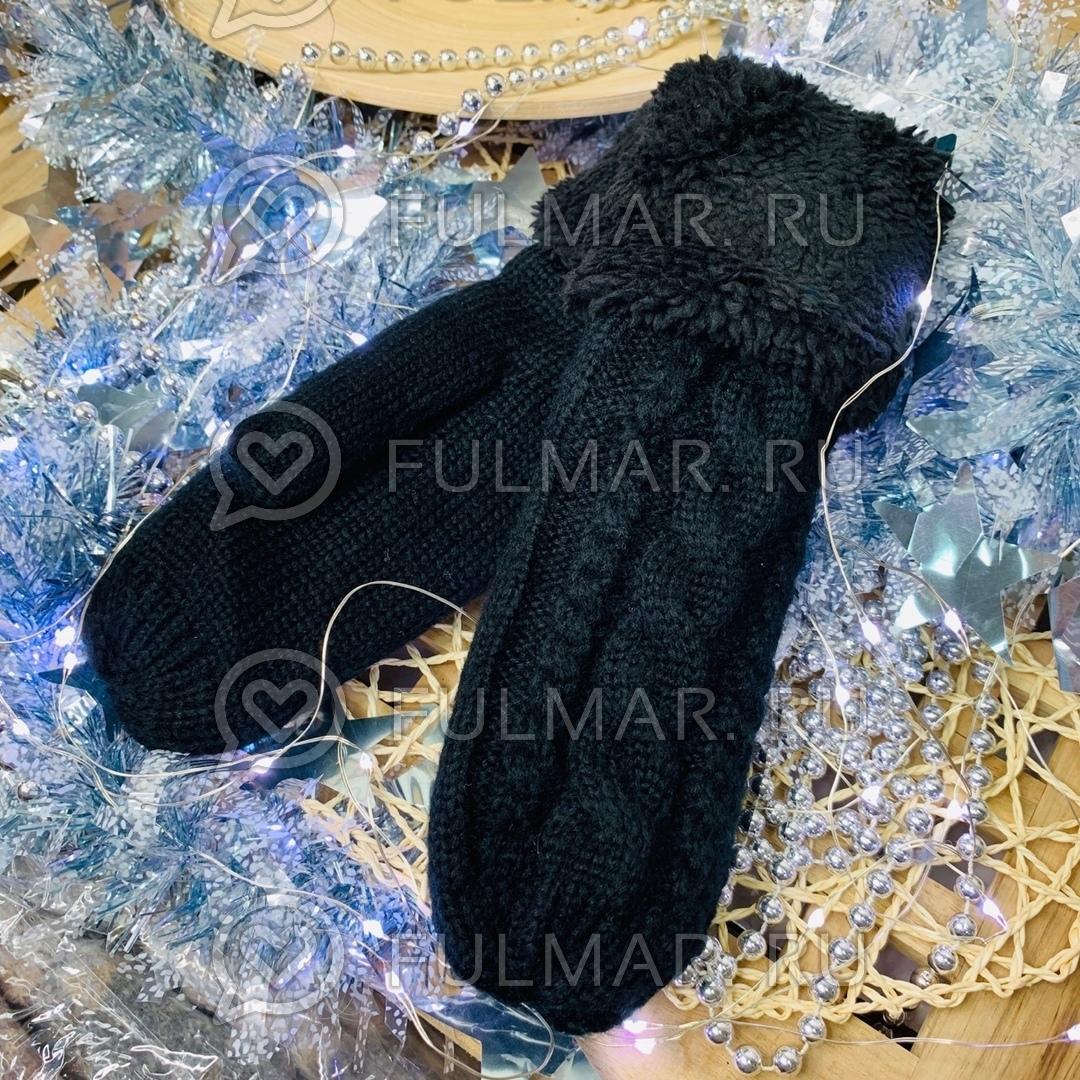 Варежки шерстяные вязаные (цвет: черный)