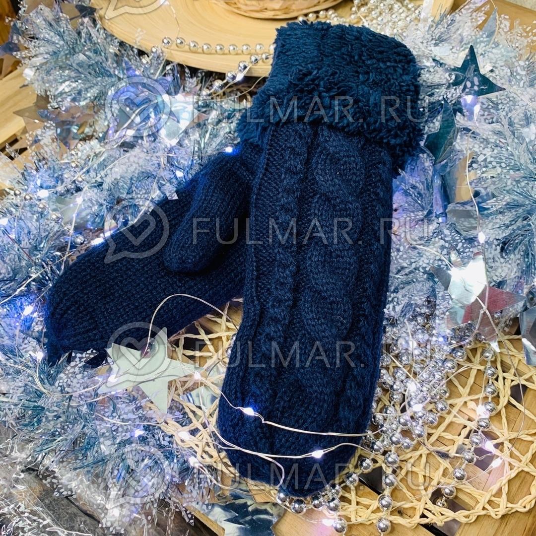 Варежки шерстяные вязаные (цвет: синий)