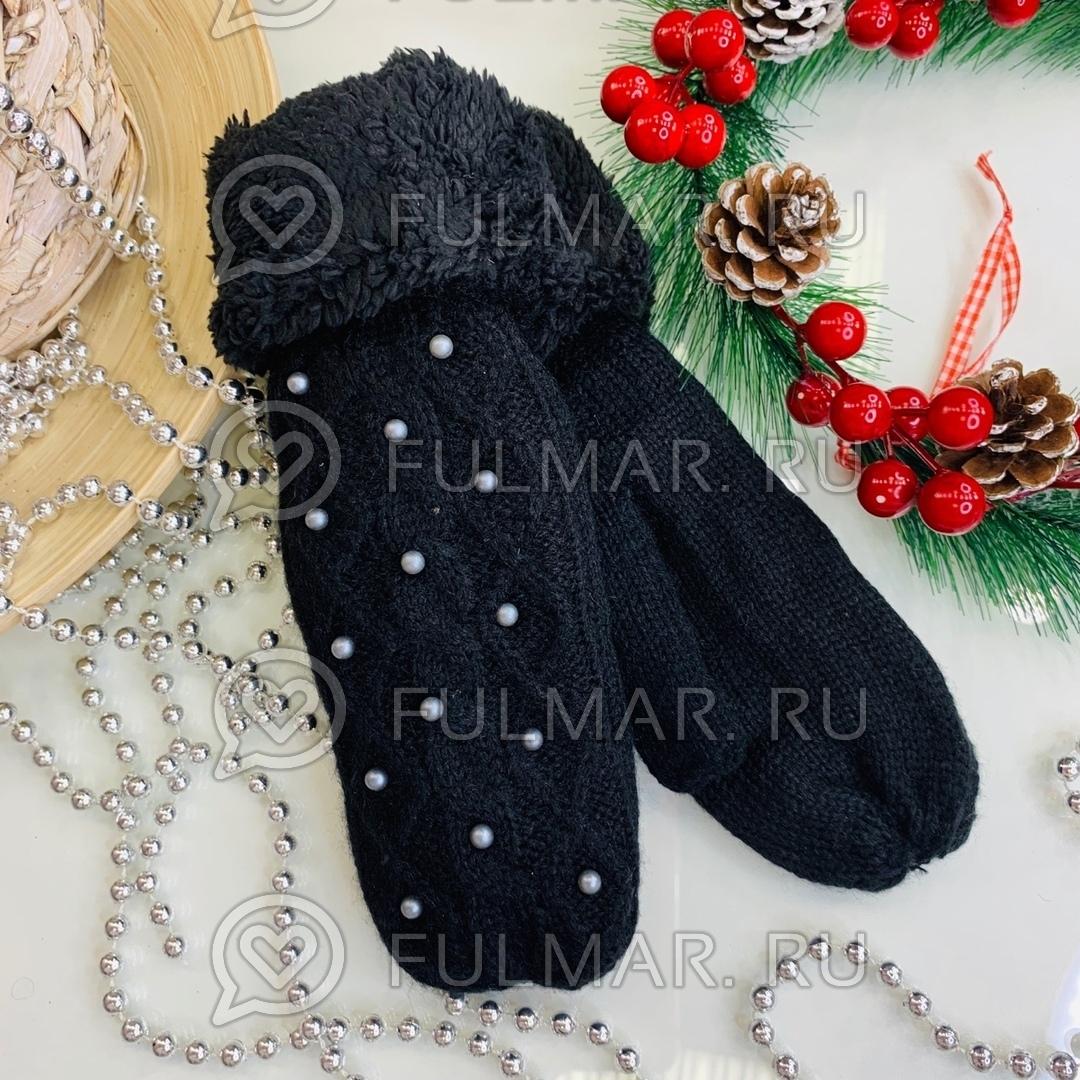 Варежки шерстяные вязаные Бусинки (цвет: чёрный)