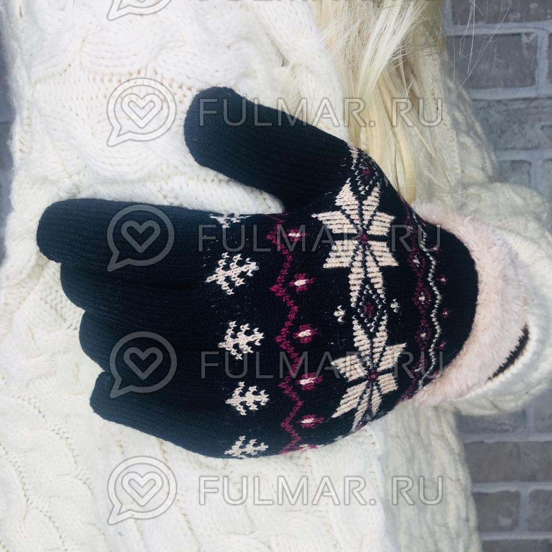 Перчатки со снежинками шерстяные женские (цвет: чёрный)