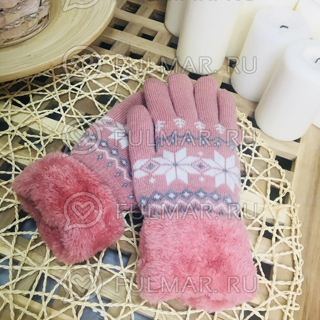 Перчатки со снежинками шерстяные розовые (цвет: розовый)