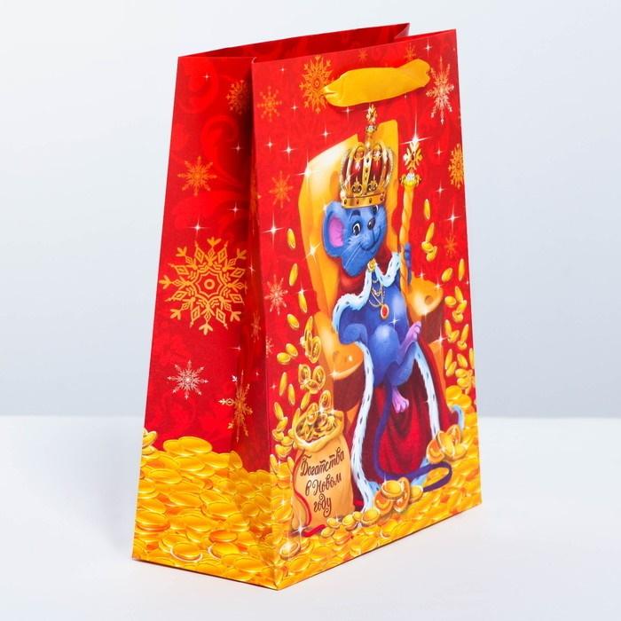 Пакет символ года 2020 подарочный ламинированный вертикальный «Сырный король, Богатства» 18 x 23  8 см
