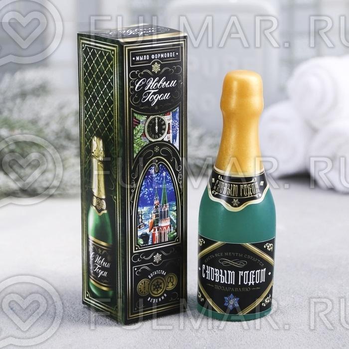 """Фигурное мыло в виде бутылки """"С Новым годом!"""""""